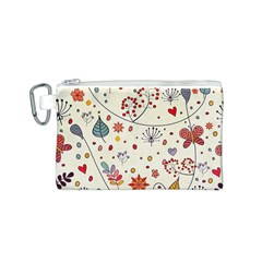 Spring Floral Pattern With Butterflies Canvas Cosmetic Bag (S)