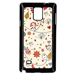 Spring Floral Pattern With Butterflies Samsung Galaxy Note 4 Case (Black)