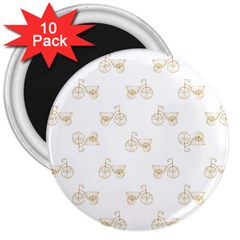 Retro Bicycles Motif Vintage Pattern 3  Magnets (10 pack)