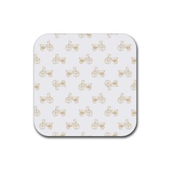 Retro Bicycles Motif Vintage Pattern Rubber Coaster (Square)
