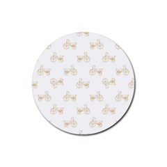 Retro Bicycles Motif Vintage Pattern Rubber Round Coaster (4 pack)