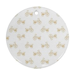 Retro Bicycles Motif Vintage Pattern Round Ornament (Two Sides)