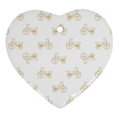 Retro Bicycles Motif Vintage Pattern Heart Ornament (Two Sides)