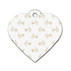 Retro Bicycles Motif Vintage Pattern Dog Tag Heart (Two Sides)