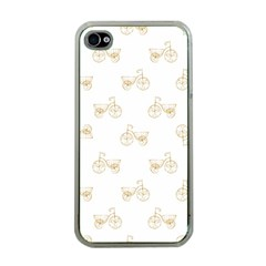 Retro Bicycles Motif Vintage Pattern Apple iPhone 4 Case (Clear)