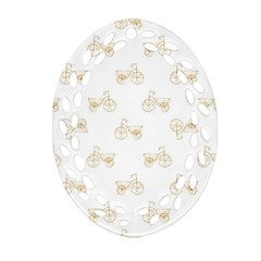 Retro Bicycles Motif Vintage Pattern Ornament (Oval Filigree)