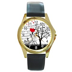 Love song Round Gold Metal Watch