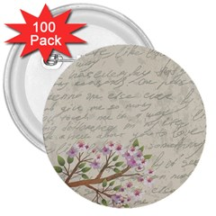 Cherry blossom 3  Buttons (100 pack)