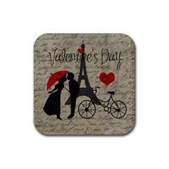 Love letter - Paris Rubber Square Coaster (4 pack)