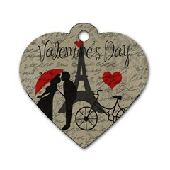Love letter - Paris Dog Tag Heart (Two Sides)