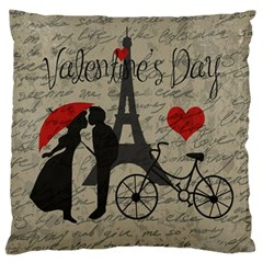 Love letter - Paris Large Flano Cushion Case (One Side)
