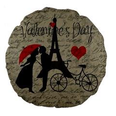 Love letter - Paris Large 18  Premium Flano Round Cushions