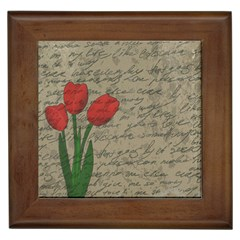 Vintage tulips Framed Tiles
