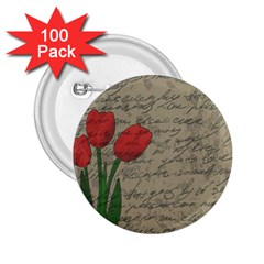 Vintage tulips 2.25  Buttons (100 pack)