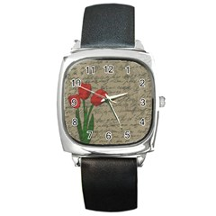 Vintage tulips Square Metal Watch