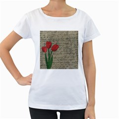 Vintage tulips Women s Loose-Fit T-Shirt (White)