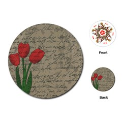 Vintage tulips Playing Cards (Round)