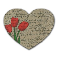 Vintage tulips Heart Mousepads