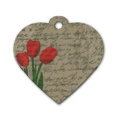 Vintage tulips Dog Tag Heart (Two Sides)