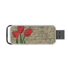 Vintage tulips Portable USB Flash (One Side)