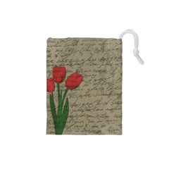 Vintage tulips Drawstring Pouches (Small)