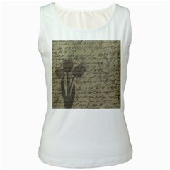 Vintage tulips Women s White Tank Top