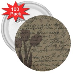 Vintage tulips 3  Buttons (100 pack)