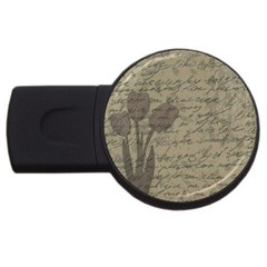 Vintage tulips USB Flash Drive Round (4 GB)