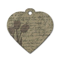 Vintage tulips Dog Tag Heart (One Side)