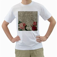 Vintage roses Men s T-Shirt (White) (Two Sided)