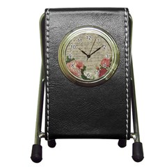 Vintage roses Pen Holder Desk Clocks