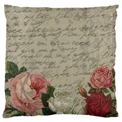 Vintage roses Large Flano Cushion Case (One Side)