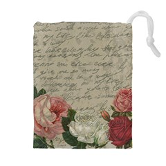Vintage roses Drawstring Pouches (Extra Large)