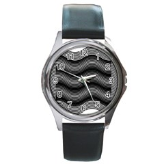 Two Layers Consisting Of Curves With Identical Inclination Patterns Round Metal Watch