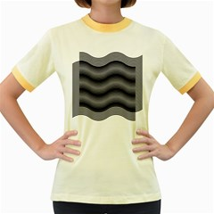 Two Layers Consisting Of Curves With Identical Inclination Patterns Women s Fitted Ringer T Shirts