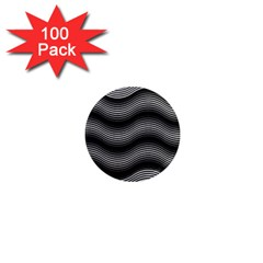 Two Layers Consisting Of Curves With Identical Inclination Patterns 1  Mini Magnets (100 pack)