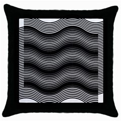 Two Layers Consisting Of Curves With Identical Inclination Patterns Throw Pillow Case (Black)