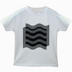 Two Layers Consisting Of Curves With Identical Inclination Patterns Kids White T Shirts