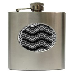 Two Layers Consisting Of Curves With Identical Inclination Patterns Hip Flask (6 Oz)