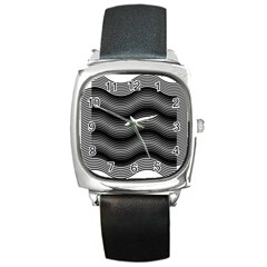 Two Layers Consisting Of Curves With Identical Inclination Patterns Square Metal Watch