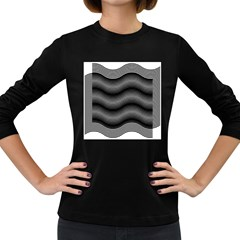 Two Layers Consisting Of Curves With Identical Inclination Patterns Women s Long Sleeve Dark T Shirts