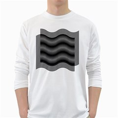 Two Layers Consisting Of Curves With Identical Inclination Patterns White Long Sleeve T-Shirts