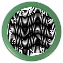 Two Layers Consisting Of Curves With Identical Inclination Patterns Color Wall Clocks