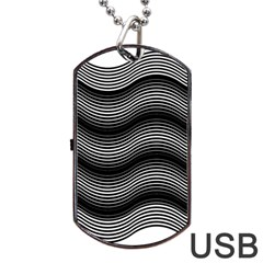 Two Layers Consisting Of Curves With Identical Inclination Patterns Dog Tag USB Flash (One Side)
