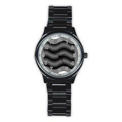 Two Layers Consisting Of Curves With Identical Inclination Patterns Stainless Steel Round Watch
