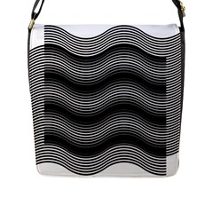 Two Layers Consisting Of Curves With Identical Inclination Patterns Flap Messenger Bag (l)