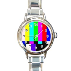 Color Bars & Tones Round Italian Charm Watch