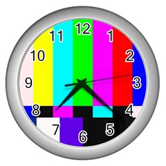 Color Bars & Tones Wall Clocks (silver)