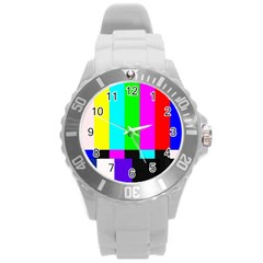 Color Bars & Tones Round Plastic Sport Watch (L)