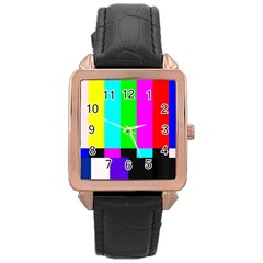 Color Bars & Tones Rose Gold Leather Watch